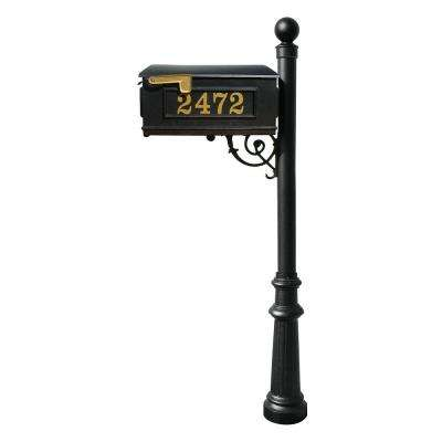 Lewiston Mailbox Collection with Post, Decorative Fluted Base and Ball Finial in Black