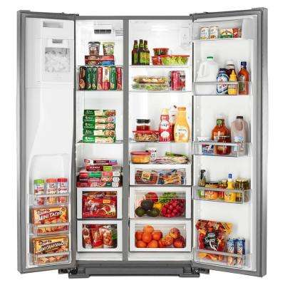 36 in. W 22.7 cu. ft. Side by Side Refrigerator in Monochromatic Stainless Steel, Counter Depth