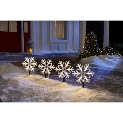 10 in. 48-Light Snowflake Pathway Lights (Set of 4)