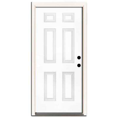 36 in. x 80 in. Premium 6-Panel Primed White Steel Prehung Front Door with 36 in. Left-Hand Inswing and 4 in. Wall