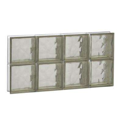 Frameless Bronze Wave Pattern Non-Vented Glass Block Window