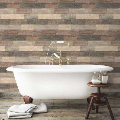28.18 sq. ft. Dark Weathered Plank Peel and Stick Wallpaper