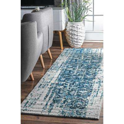 Distressed Ernestina Flourish Blue 2 ft. 6 in. x 8 ft. Runner Rug