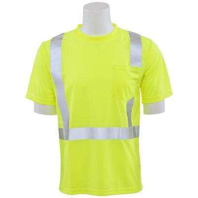 9006S Class 2 Short Sleeve Hi Viz Lime Unisex Birdseye Mesh T-Shirt