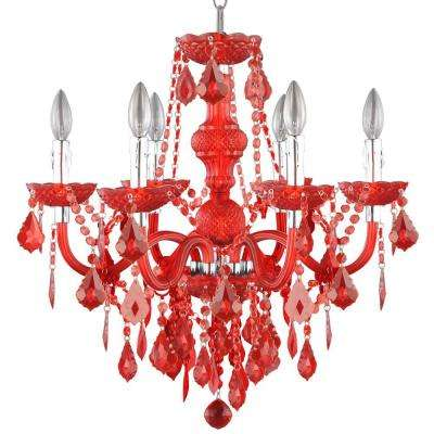6-Light Maria Theresa Chrome Red Acrylic Chandelier