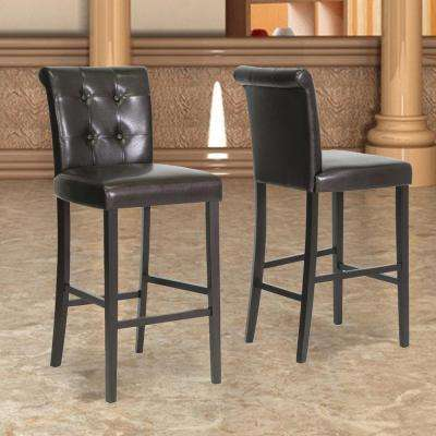 Baxton Studio Torrington Brown Faux Leather Upholstered 2-Piece Bar Stool Set