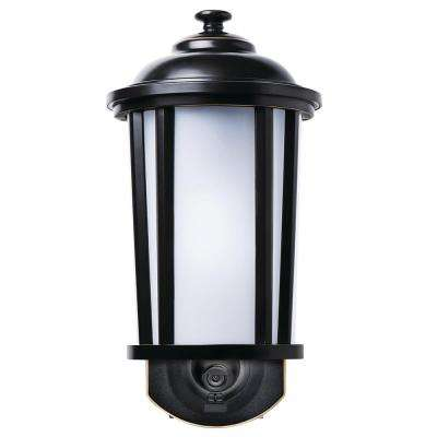 Traditional Oil Rubbed Bronze Motion Activated Smart Security Metal and Glass Outdoor Wall Mount Lantern