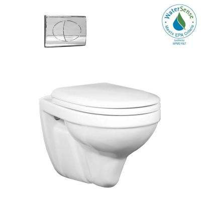 Matera Wall Hung 1-Piece 1.6 GPF Dual Flush Round Toilet in White with Chrome Activator-DISCONTINUED
