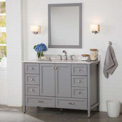 Claxby 49 in. W x 22 in. D Bath Vanity in Sterling Gray with Stone Effect Vanity Top in Winter Mist with White Sink
