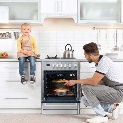 24 in. 2.73 cu. ft. Single Oven Gas Range with 4 Burner Cooktop and Heavy Duty Cast Iron Grates in Stainless Steel