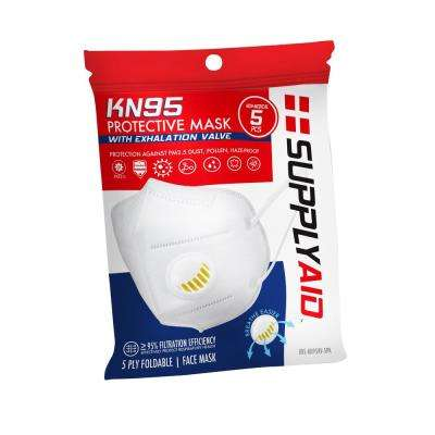 KN95 Face Mask with Exhalation Valve for Protection Against PM2.5 Dust, Pollen and Haze-Proof (5-Pack)