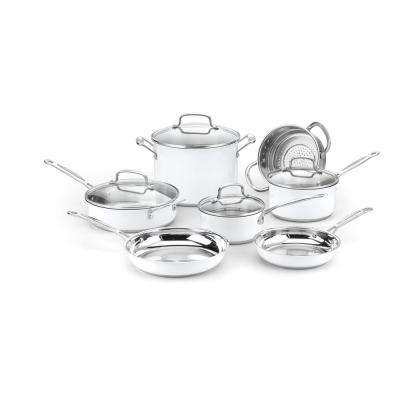 Chef's Classic Stainless 11-Piece Cookware Set in Metallic White