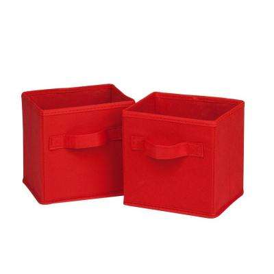 4.9 Qt. Mini Non-Woven Foldable Cube Bin in Red (6-Pack)