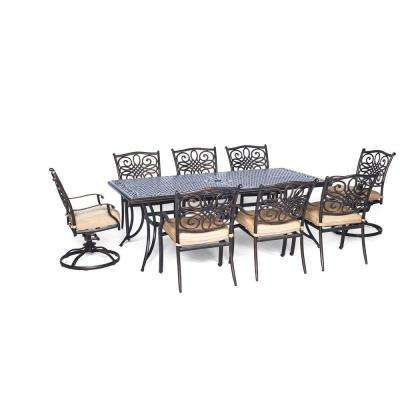 Traditions 9-Piece Rectangular Patio Dining Set with Six Dining Chairs, Two Swivel Rockers and Natural Oat Cushions