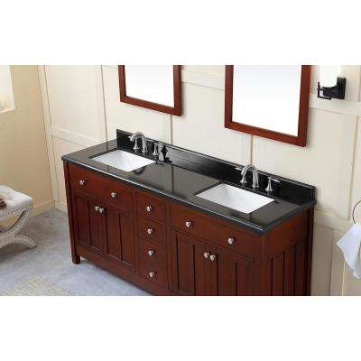Castel 72 in. W Bath Vanity in Dark Cherry with Granite Vanity Top in Black with White Basins
