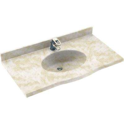 Europa 43 in. Solid Surface Vanity Top with Basin in Cloud White
