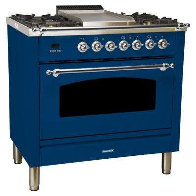 36 in. 3.55 cu. ft. Single Oven Dual Fuel Italian Range True Convection, 5 Burners, Griddle, LP Gas, Chrome Trim in Blue