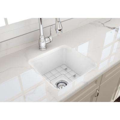 Sotto Undermount Fireclay 18 in. Single Bowl Kitchen Sink with Bottom Grid and Strainer in White