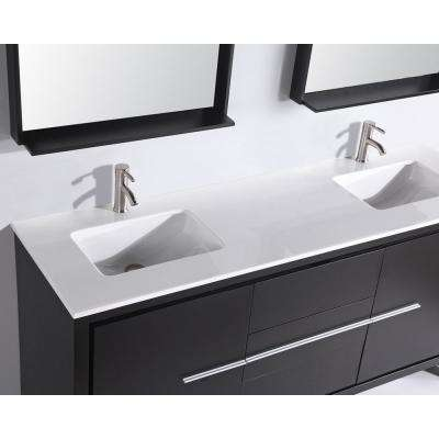 72 in. W x 22 in. D x 36 in. H Vanity in Espresso with Micro Stone Vanity Top in White with White Basin