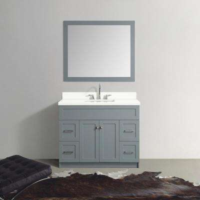 43 in. Bath Vanity in Grey with Quartz Vanity Top in White with White Basin and Mirror