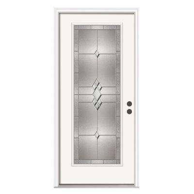 Kingston Full Lite Primed White Steel Prehung Front Door with Brickmold