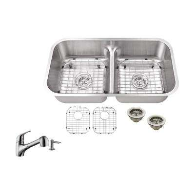Undermount 32-1/2 in. 18 Gauge Stainless Steel Kitchen Sink in Brushed Stainless with Pull Out Kitchen Faucet