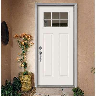 32 in. x 80 in. Primed Right-Hand Inswing 6-Lite Clear Steel Prehung Front Door