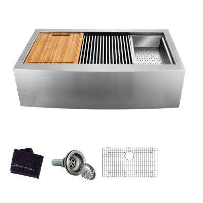 All-in-One Apron-Front Farmhouse Stainless Steel 36 in. Single Bowl Workstation Sink with Accessory Kit