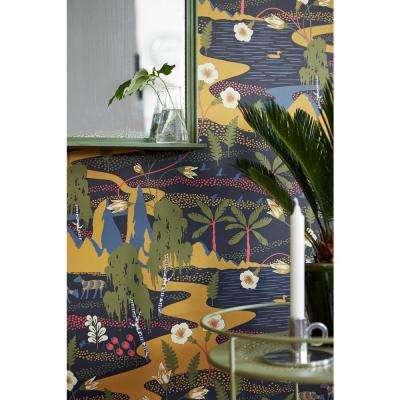 57.8 sq. ft. Magisk Navy Oasis Wallpaper
