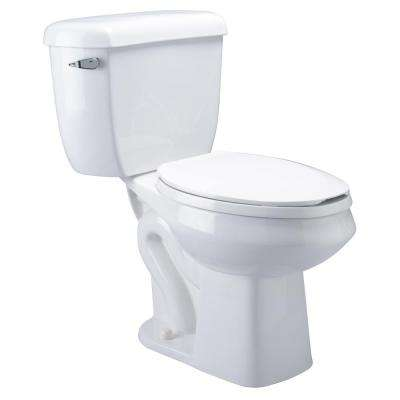 2-Piece 1.6 GPF Single Flush Elongated Pressure Assist Toilet in White