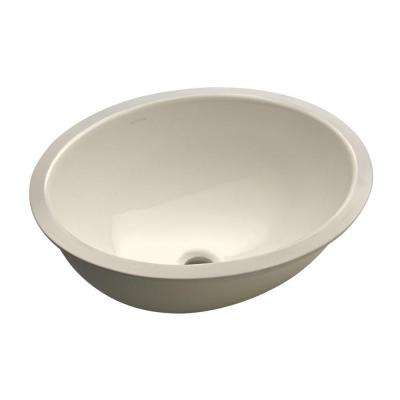 Caxton Vitreous China Undermount Bathroom Sink in Biscuit with Center Drain