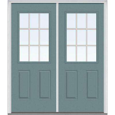72 in. x 80 in. Classic Clear Glass GBG 1/2 Lite Painted Majestic Steel Double Prehung Front Door
