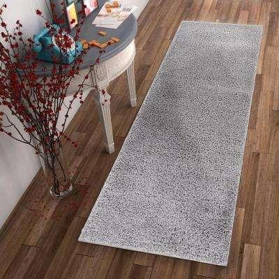 Madison Shag Plain Grey 2 ft. x 7 ft. Modern Solid Runner Rug
