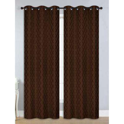 Semi-Opaque Quattro Jacquard Room Darkening Grommet Curtain Panel