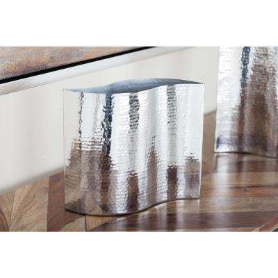 7 in. Modern Wave Silver Stainless Steel Decorative Vase