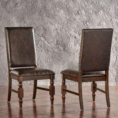 Maxine Faux Leather Formal Dining Chair in Chocolate (Set of 2)