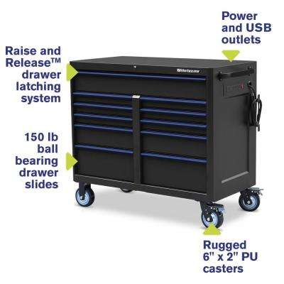 46 in. x 24 in. 11-Drawer Roller Cabinet Tool Chest with Power and USB Outlets in Black and Blue