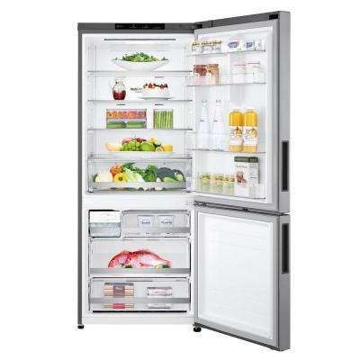 14.7 cu. ft. Bottom Freezer Refrigerator with Door Cooling and Reversible Door in Platinum Silver