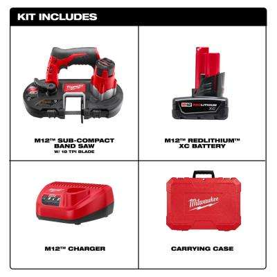 M12 12-Volt Lithium-Ion Cordless Sub-Compact Band Saw XC Kit with (1) 3.0h Battery, Charger & Hard Case