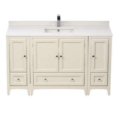 Oxford 54 in. Vanity in Antique White with Ceramic Vanity Top in White with White Basin and Mirror