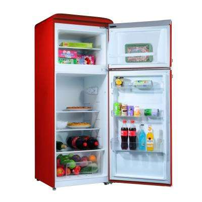 4.6 cu. ft. Retro Mini Fridge with Dual Door True Freezer in Red