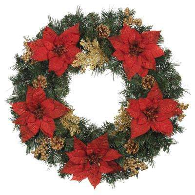 24 in. Silk Poinsettia Artificial Wreath with Gold Fern Sprigs and Pinecones (Pack of 6)