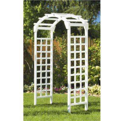 White Arch 84 in. x 48 in. Outside Wooden Garden Arbor