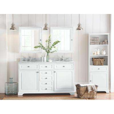 Highclere 60 in. W x 22 in. D Double Bath Vanity in White with Natural Marble Vanity Top in Carrera White