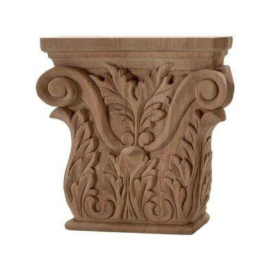 5-3/8 in. x 5-1/4 in. x 1-1/8 in. Unfinished Hand Carved Solid American Cherry Acanthus Wood Onlay Capital Wood Applique