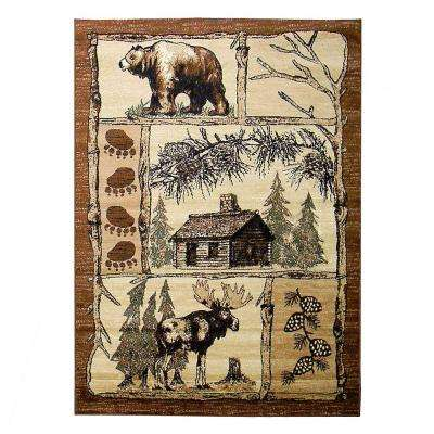 Lodge Moose and Bear Brown 5 ft. x 7 ft. Indoor Area Rug