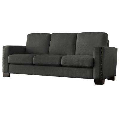 Octavia Linen 1-Piece Sofa with Nailhead Accent in Charcoal