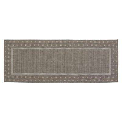 Jardin Collection Contemporary Bordered Design Gray 2 ft. 7 in. x 7 ft. Outdoor Runner