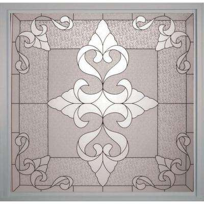 49.75 in. x 49.75 in. Decorative Glass Fixed Vinyl Window in White