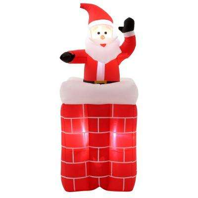 5 ft. H Inflatable Animated Santa Rises from Chimney